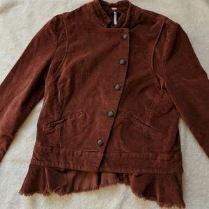 Free People Velvet Military Jacket